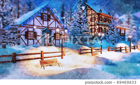 Mountain village at snowy winter night watercolor 69469833
