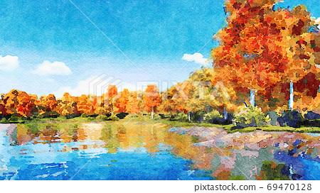 Autumn trees on a lake shore watercolor landscape 69470128