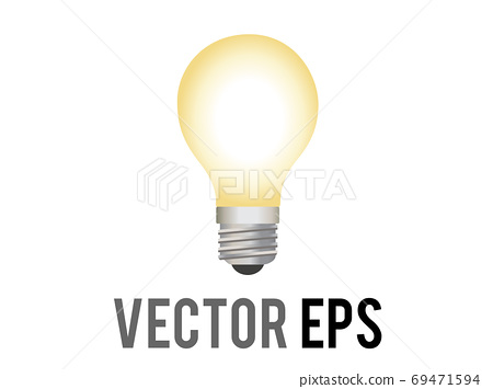 The isolated vector electric light bulb icon incandescent bulb with a silver base with soft, yellow white glow 69471594