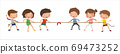 Kids playing tug of war, Children pull the rope, vector, illustration, Isolated on white background 69473252