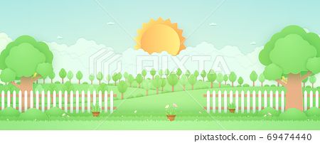 Spring Time, landscape, trees on the hill, garden with plant pots, beautiful flowers on grass and fence, bird on the branch, paper art style 69474440