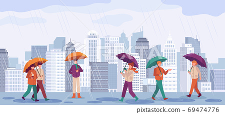 People autumn rain. Men and women walk or standing in rain with umbrellas in city landscapes, rainy day fall season vector concept 69474776