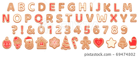 Gingerbread alphabet. christmas cookies and biscuit letters for xmas holiday message. pastry gingerbread english childish font Vector set 69474802