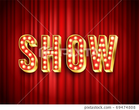 Theater show label. Red curtain for stage, drapery theater 69474808