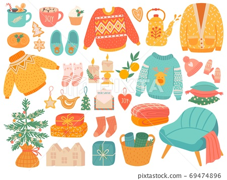 Hygge christmas. Winter knit clothes and holiday decor fir-tree, gifts. Candles, socks and mittens xmas home symbols, cartoon vector set 69474896