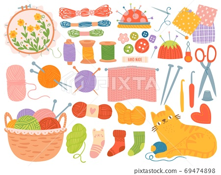 Knitting threads. Handicraft accessories, thread, needles, yarn balls. Scissors, crochet, handmade needlework hobby, cartoon vector set 69474898