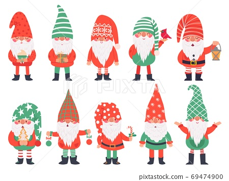 Christmas dwarfs. Funny fabulous gnomes in red costumes, xmas gnome with lantern traditional decoration, winter holiday vector characters 69474900