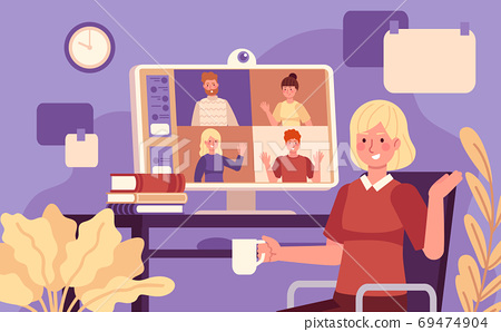 Online meeting. Video conference woman online meeting with colleagues, remote work using computer, collective virtual chat vector concept 69474904