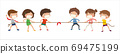 New normal, Kids playing tug of war, Children pull the rope, vector, illustration, Isolated on white background 69475199