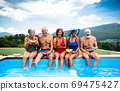 Group of cheerful seniors sitting by swimming pool outdoors in backyard. 69475427