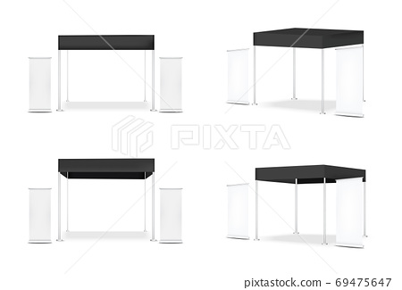 3D Mock up Realistic Tent Display POP Booth for Sale Marketing Promotion Exhibition Background Illustration 69475647