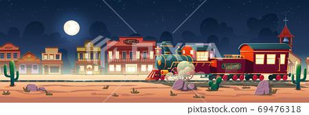 Wild west steam train at night western town vector 69476318