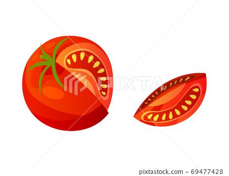 Tomato. Chopped tomato isolated on white background. Vector fresh red tomato. Single slice tomato 69477428