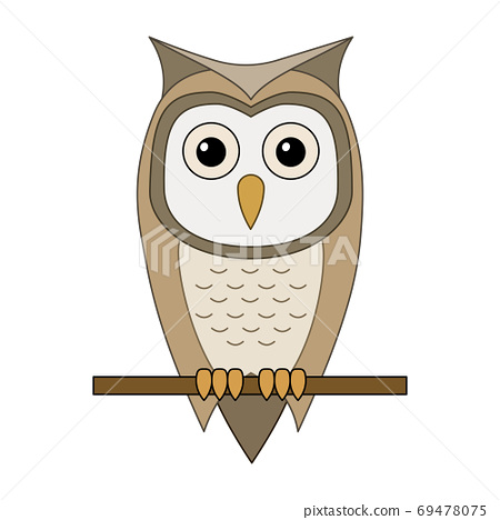 Vector illustration of cartoon owl sitting on a branch isolated 69478075