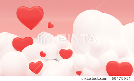 3D illustration of love and valentine day,Red heart float on the 69479914