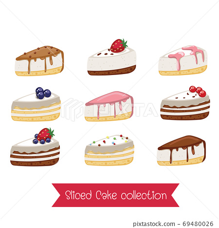 Set of sliced cakes. cartoon Vector illustration.Colorful sweet 69480026