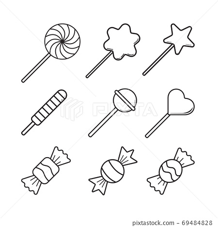 Sweets Candy vector icon set in thin line style.  Design illustr 69484828