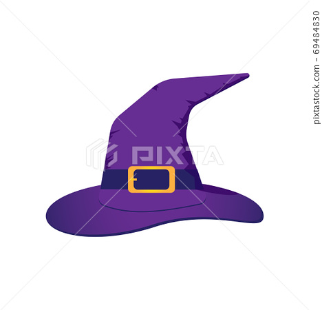 Vector illustration of purple witch hat with a gold buckle isola 69484830