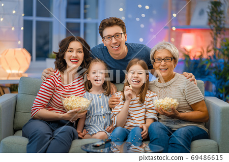 Happy family spending time together. 69486615