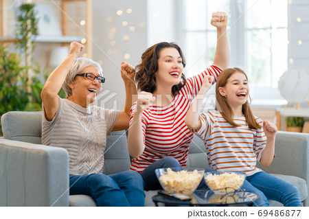 Happy family spending time together. 69486877