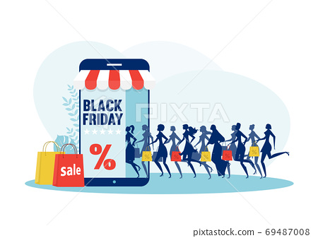 Running woman silhouette with shopping bags. Black friday sale 69487008