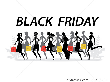 Women silhouettes with holding shopping bags discount percent. black Friday concept vector illustrator 69487520