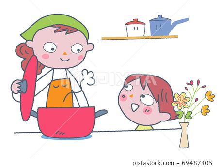 요리를하는 부모 일러스트 69487805