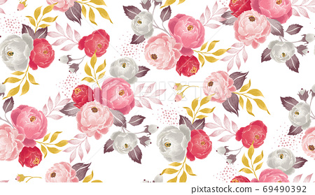 Vector illustration of seamless floral pattern in spring   69490392