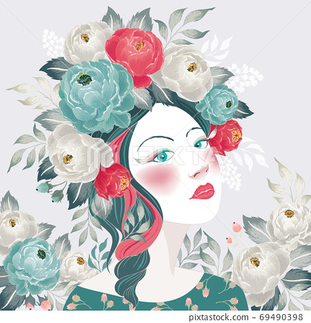 Vector illustration of a girl with floral headdress in spring for Wedding, anniversary, birthday and party. Design for picture frame, poster and card 69490398
