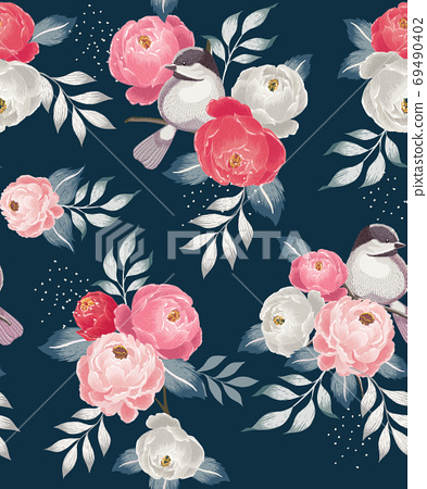 Vector illustration of seamless floral pattern in spring 69490402