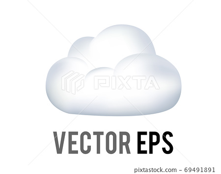 The vector white fluffy cumulus cloud, cloudy, overcast day icon 69491891
