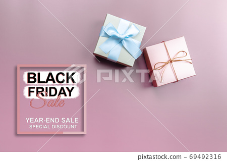 black friday sale, gift box on pink background for special day 69492316