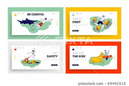 Characters Attacked with Water Animals Landing Page Template Set. Hippopotamus, Crab, Jellyfish and Shark Attack 69492818