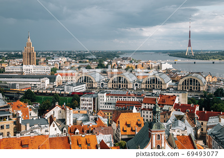Riga old town panorama view from St. Peter's Church observatory in Latvia 69493077