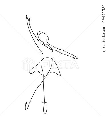 Single continuous line drawing ballerina in ballet motion dance style 69493586