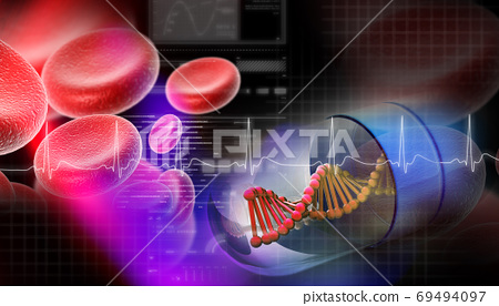Dna capsule in abstract background 69494097
