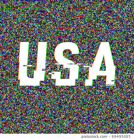 USA vector glitch text. Patriotic background with anaglyph 3D effect. Creative illustration, web 69495085