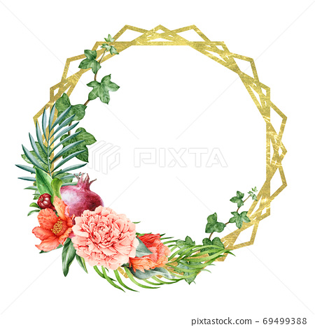 Pomegranate floral wreath with golden elements. 69499388
