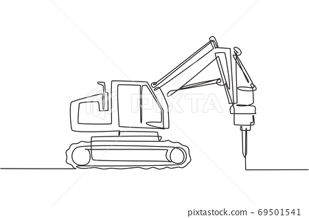 One single line drawing of truck driller for soil earth drilling vector illustration, commercial vehicle 69501541