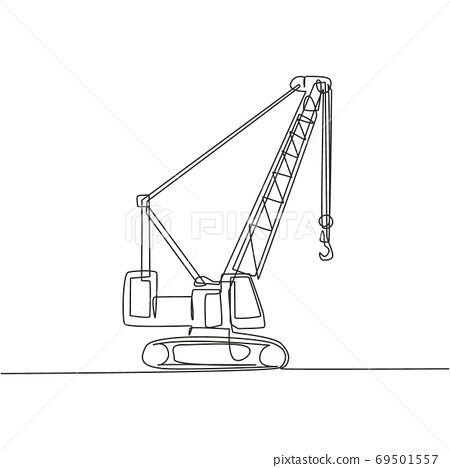 One continuous line drawing of crane truck for building construction, business commercial vehicles 69501557