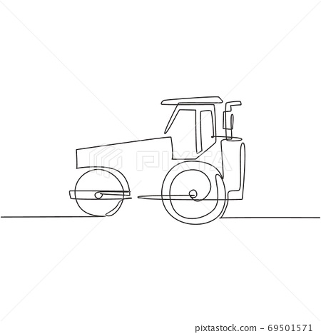 One single line drawing of harvester tractor for farming harvest vector illustration, commercial vehicle 69501571