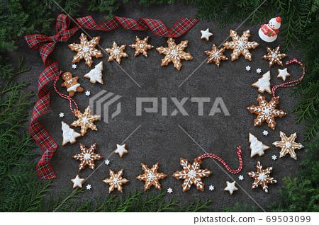 크리스마스 배경 크리스마스 쿠키 리본 69503099