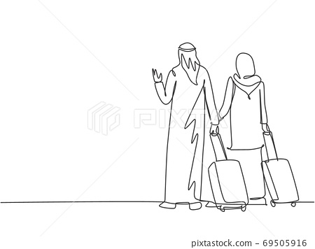 One continuous line drawing of young male and female muslim couple do business trip to abroad together 69505916