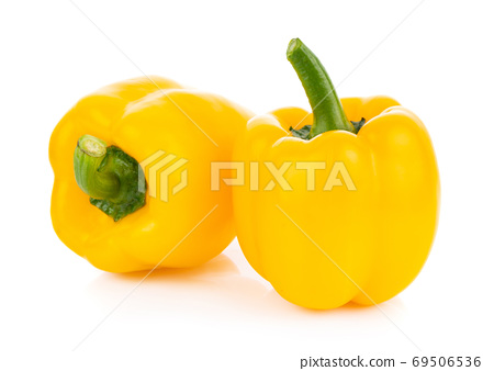 yellow bell pepper on white background 69506536