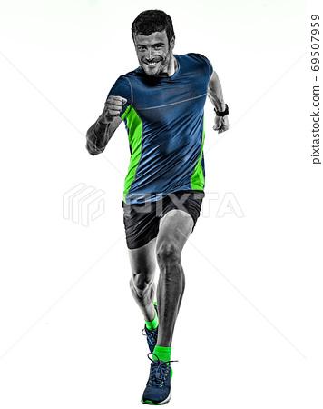 mature man running runner jogging jogger isolated white background 69507959