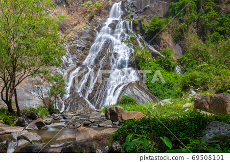 Tao Dam waterfall, the beautiful waterfall in deep forest at Klong Wang Chao national park ,Kamphaeng Phet, Thailand 69508101