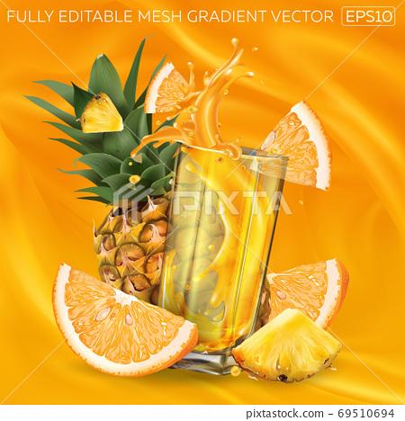 Pineapple, orange and a glass of splashing juice on a background of fruit juice. 69510694