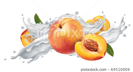 Peaches in a yogurt or milk splash. 69510809