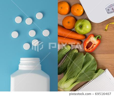 healthy food and drug Vitamins with fruit vegetables medicine he 69516407