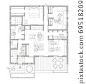 큰 나무 데크가있는 단층 구조 (그레이) 69518209